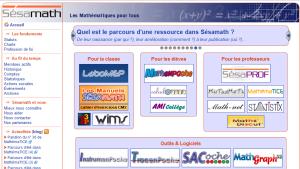 La page d'accueil du site de Sésamath